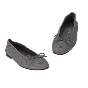 Chanel Gray Quilted Leather Cap-toe Ballet Flats